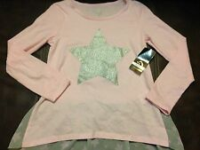 Jordache, Girls Pink, Silver Star, Long Sleeve, Size 10-12, NWT,