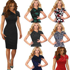 Womens Celebrity Vintage Pinup Bow Casual Party Business Bodycon Dress 266