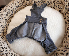 Clothes For Dog Puppy Pet Blue Jeans Denim Striped Dog Pajamas Overalls Pants