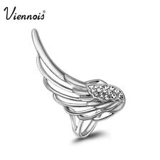 Viennois Silver Clear Swarovski Crystal Hollowed Cocktail Ring New sz 7 VR280