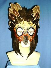 """Handmade """"Bird"""" mask featuring pheasant and coquil feathers 759"""