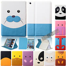 Cute Card Cartoon Animal PU Leather Case Cove Stand + Film for Apple ipad mini