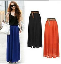 Fashion Retro Double Layer Chiffon Pleated  Long Maxi Dress Elastic Waist Skirt