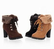New Faux Suede Block High Heel Ankle Winter Women Boots Lady Shoes AU Sizes H52