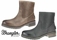 Wrangler Ankle Real Leather Ladies Brown Black Fleece Zip Up Boots 3 4 5 6 7 8