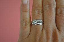925 Sterling Silver Feather Ring Band - Feather Wrap Ring