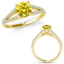 0.75 Ct Yellow Diamond Fancy Solitaire Engagement Wedding Ring 14K Yellow Gold