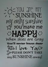 you are my SUNSHINE song lyrics vinyl lettering decal wall words art childs room