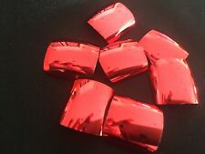 Metallic Red Full Well Fake False Nail Tips Pre Design Acrylic or UV Gel Nails