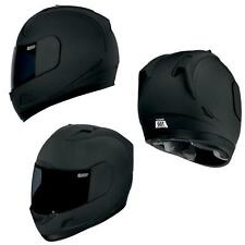 Icon Alliance Dark Matte Black Full Face Motorcycle Helmet Clear & Smoke Shield