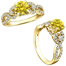 1 Carat Yellow Diamond Fancy Infinity Engagement Wedding Ring 14K Yellow Gold