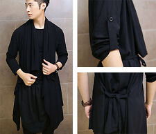 New Men's Gothic Ruffle Front 3/4 Sleeve Long Thin Open Cardigan Jacket Black
