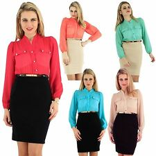 New Womens Chiffon Long Puff Sleeve Gold Strap 2in1 Belted Dress