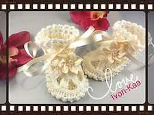 Crochet Baby Booties with Beads Pearls,Christening shoes, Baptism  any size