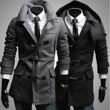 Mens Slim Fit Zip & Toggle Button Casual Short Trench Hoodie  Coat Jacket PK87
