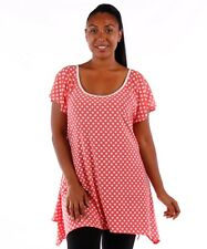 New Coral White Polka Dot Babydoll Drip Hem Tunic Top 1X 2X 3X Womens PLUS