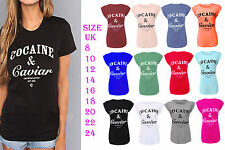 New Womens Ladies Cocaine and Caviar Print Roll Up Cap Sleeve Top T-Shirt  8-26
