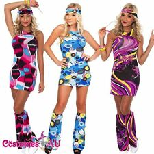 Ladies 60s 70s Retro Hippie Costume 1960s 1970s Go Go Girl Disco Fancy Dress