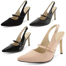 Womens Ladies Stiletto High Heel Mary Jane Strappy Slingback Court Shoes Size UK