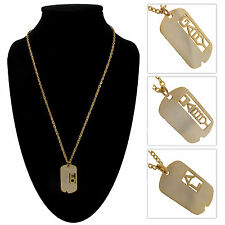 Vietnam Era Gold Tone Dog Tag Name Necklace - Choice of Name