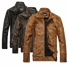 NEW Hot sell Fashion Men's Leather Motorcycle Coats Jackets Washed Leather Coat