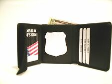 Police Recessed Shield Wallet Leather Fits Full & Mini Size Badge Cut Outs CT-09