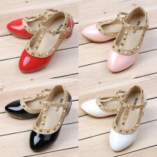 New Girls Fashion Tip Toe Rivet T-strap Shoes Patent Leather Flat Heel Shoes