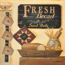 "BR154 Fresh Bread by Pam Britton 16""x16"" framed or unframed art print kitchen"