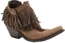 Womens Liberty Black Vegas Studded/Concho Short Fringe T-Moro Ankle Cowboy Boots