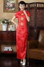 red Chinese Style embroider women'ssilk evening long Dress/Cheong-sam sz:S-XXL