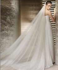 Charming Long 2 Layer 3M Soft Cathedral Bridal Wedding Veil With Comb