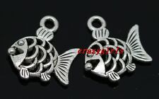 10/40/240pcs Tibet Silver two-sided fish Jewelry Finding Charms pendant 17x16mm