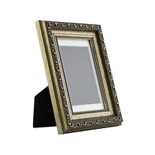 Ancien Ornate Table-top 4x6 Antique Silver Standing Picture Frame with Mat