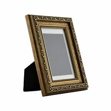Ancien Ornate Table-Top 4x6 Antique Gold Standing Picture Frame with Mat