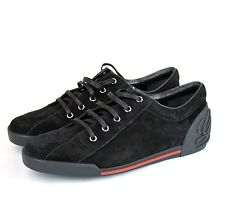 New Authentic Gucci Mens Suede Trainer Sneaker w/Script, Black,281009 CBB00 1000