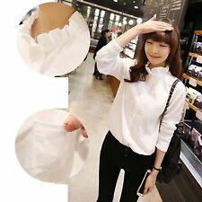 Women Frill Ruffle Neck Career Official Shirts OL Blouse Button Up Collared Top
