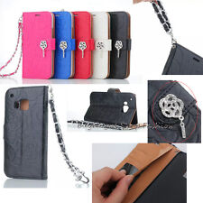 Bling Flower Wristlet Leather PU Wallet Card Flip Cell Case Cover For HTC One M9