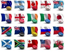 """RUGBY TEAMS LARGE 12"""" X 9"""" FABRIC FLAGS BUNTING ENGLAND FRANCE ITALY WALES"""