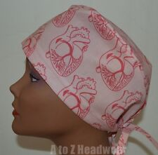 Pink Anatomy of the Heart Surgical Scrub Cap Hat