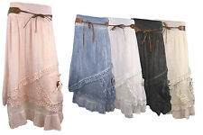 WOMENS LAGENLOOK ITALIAN COTTON LACE LAYER SEXY BELTED SUMMER MAXI SKIRT