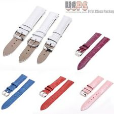 Genuine Leather Watch Band Strap Stainless Steel Buckle Alligator Grain USPS