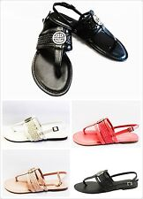 New Women's T-Strap Embellished Fashion Comfort Slip on Flat Sandal Shoes