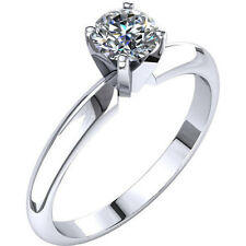 0.50ct Diamond Engagement Ring Solid 14K White Gold Solitare