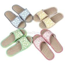 Chic Womens Mens Summer Beach Slippers Refreshing Home Linen Flax Flats Slippers