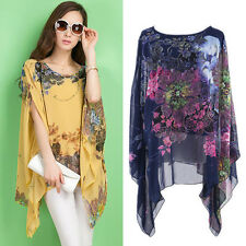 Summer Women Sexy Batwing Sleeve Loose Chiffon Floral Print T-shirt Blouse Tops