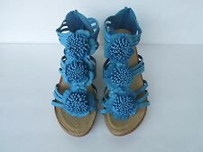 Women's New Attractive Fashion Comfy Flower Theme Wedged Sandals BLUE