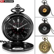 Vintage Roma Number Quarzt Pocket Watch Necklace Chain Gift Black/Bronze/Silver