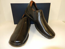 NEW COLE HAAN ZENO BLACK LEATHER CENTER STITCH SLIP ON CASUAL LOAFERS