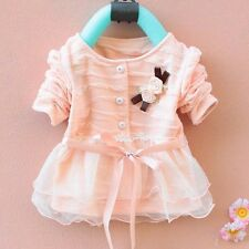 1pc Girl Baby Kids Newborn Cardigan Coat Top Dress Baby Clothing Outfit 0-36M