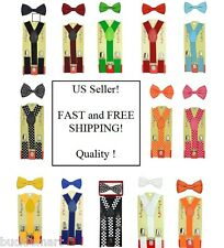 Baby Toddler Kids Boys Girls Y-Back Elastic Suspenders and Bow Tie Set Toddlers